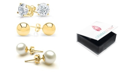 Pearl Gold Gemma Luna Women S 14k Ball Stud Earrings Set 3 Pack White