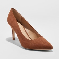 Women's Gemma Wide Width Pointed Toe Nude Pumps - A New Day Cocoa 7W 1638978