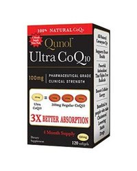Qunol 100% Soluble 3x Better Absorption Coenzyme Q10 100mg - 120 Softgels