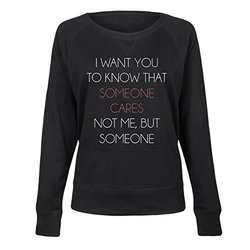 Ladies Attitude Slouchy Pullovers L Black-Someone Cares Not Me But Someone 1643056