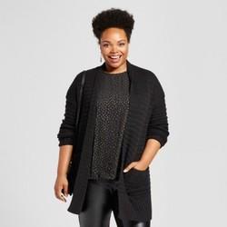 Women's Plus Size Textured Cardigan - Ava & Viv  Black 1X 1656011