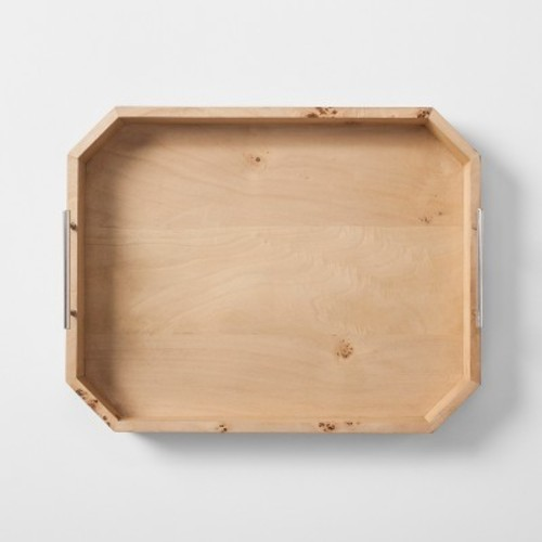 burled wood tray with metal handles   project 62   check