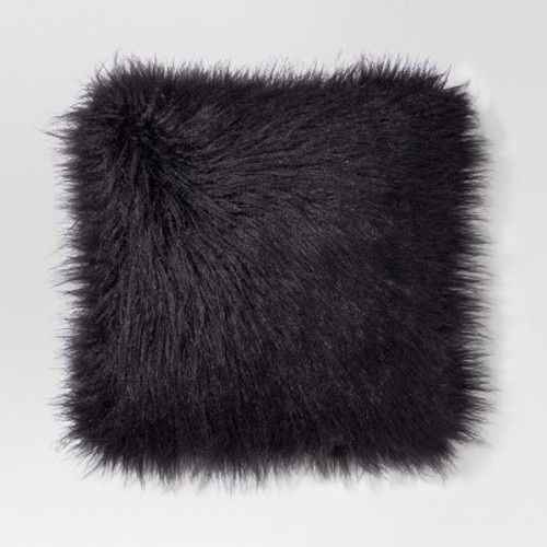black mongolian faux fur throw pillow   project 62   check