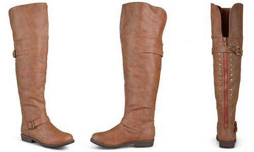 3e13547dc18a ... Journee Women's Wide Calf Studded Over-The-Knee Boots - Chestnut - Size:  ...