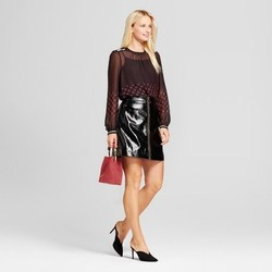 Women's Long Sleeve Rib Trim Blouse - Who What Wear Black/Burgundy Polka Dot  S 1658749