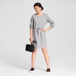 Women's Fleece Tie Waist Dress - A New Day  Gray XS 1672496