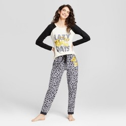 Women's Disney Lion King Simba Lazy Days Long Sleeve Tee/Jogger Pajama Set - Cream M (Junior Sizing) 1672967