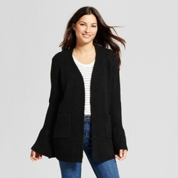 Women's Flounce Sleeve Cardigan - A New Day  Black M 1678943