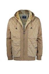 Men's Fleece Lined Knitted Heavyweight Zip-Up Hoodie M Beige 1689535
