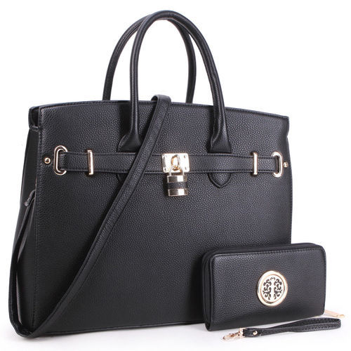 Dasein Women S Satchel Handbag With Padlock Purse Black Size Large
