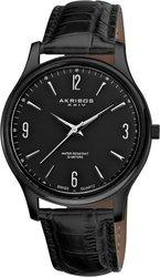 Akribos XXIV Men's Swiss Quartz Black Leather Strap Watch (AK539BK)