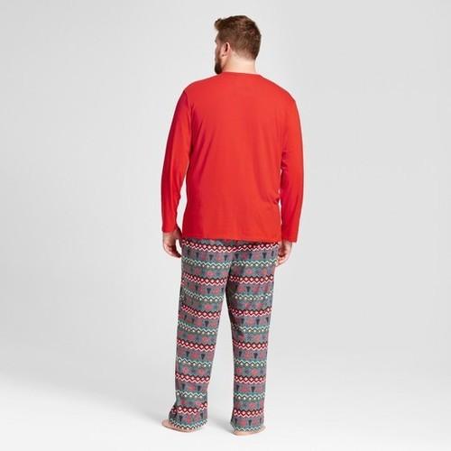 Men's Reindeer Fair Isle Mr. Buck 2-piece Pajama Set - Red - Size ...