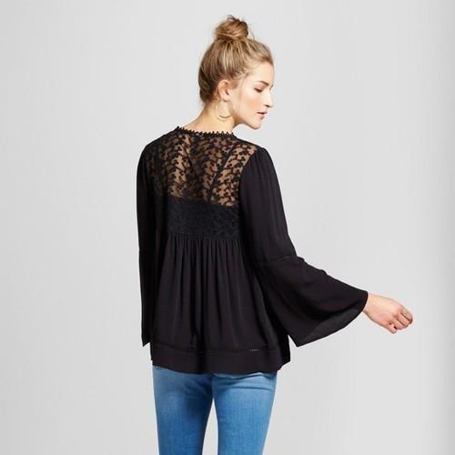 157eb978c26 ... Knox Rose Women's Long Sleeve Embroidered Mesh Yoke Top - Black ...
