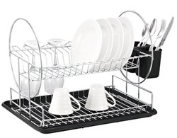 Hopeful 2-Tier Dish Drainer Chrome Steel and Plastic (DD110)