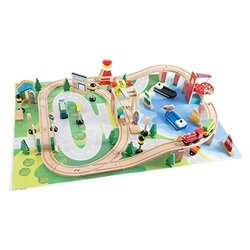 Wooden Train Set for Kids with Tracks,