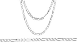 Italian Heavy Link 5mm Figaro Chain in Solid Sterling Silver 18 Inches Sterling Silver 1730235