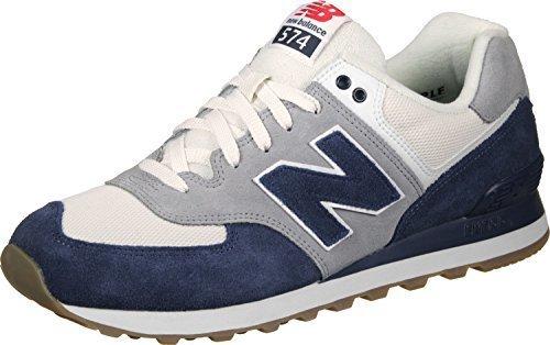 13feefb7db5076 New Balance Mens 574 Retro Sport Navy Silver Sneaker - 11 D - Check ...