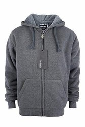 Lee Hanton Men's Solid Sherpa Lined Hoodies XL Dark Grey 1669043