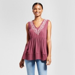 Women's Floral Embroidered Peplum Tank - Knox Rose  Merlot M 1736670