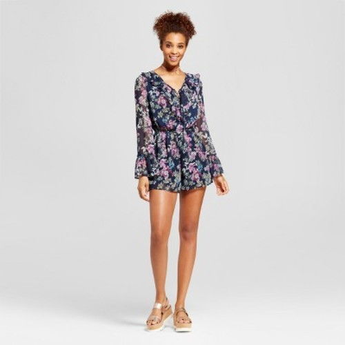 83788556108 Xhilaration Women s Lace-Up Long Sleeve Romper - Navy - Size  L ...