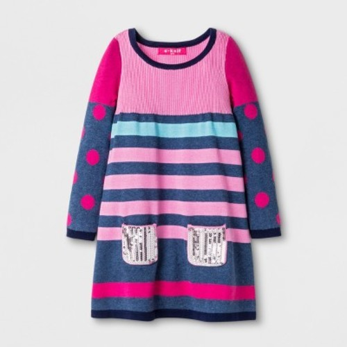 41345a88b8 U-Knit Toddler Girls  Long Sleeve Sweater Dress - Pink 5T - Check ...