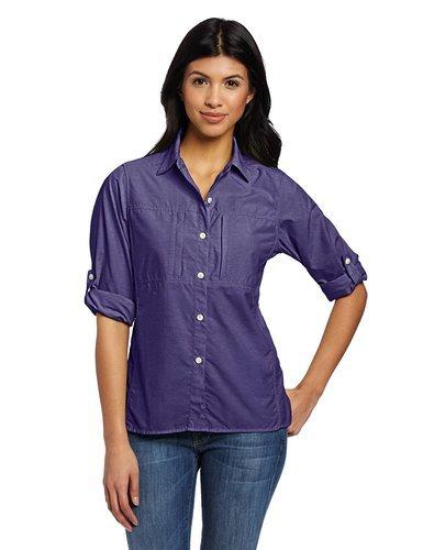27bc1c33 ... ExOfficio Women's Dryflylite Long Sleeve Shirt - Dark Verbena - Size:  ...