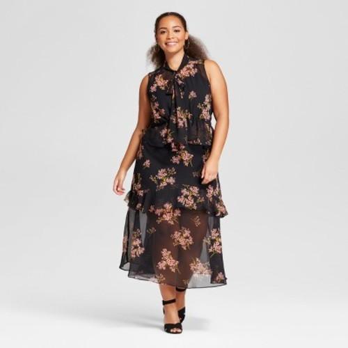 Womens Plus Size Tiered Ruffle Midi Dress Who What Wear Black