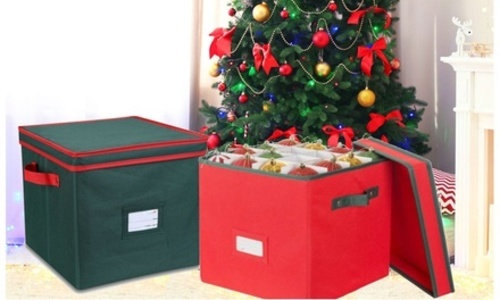 glomery christmas ornament storage box with lid capacity 64 ornaments red