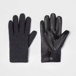 Men's Wear Houndstooth Gloves - Gray/Black - Size:XL 1679540
