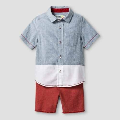 c53c7a29a ... Toddler Boys' Button Down Shirt and Bottom Set - Chambray/Red - Size:  ...