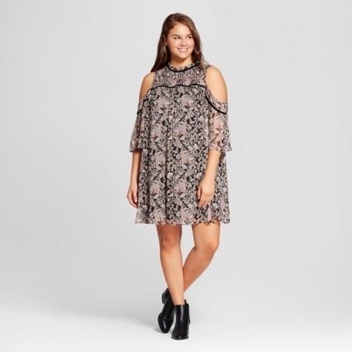 Womens Plus Size Floral Printed Cold Shoulder A Line Dress