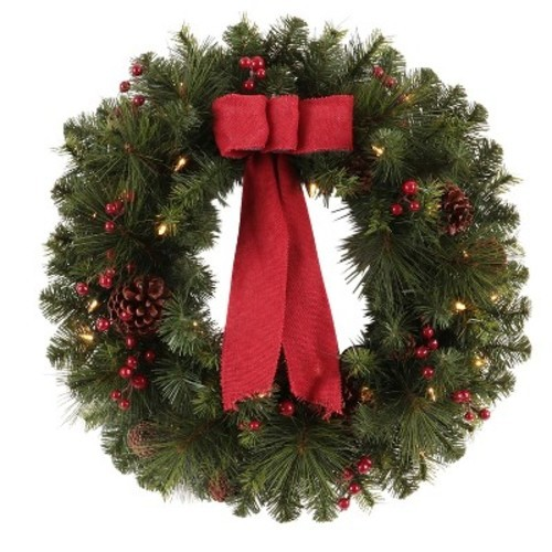 philips 28 prelit decorated artificial pine christmas wreath warm white led lights
