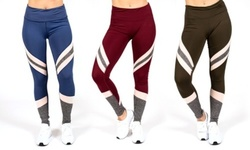 RAG Women's Active Legging With Color Mesh Inserts - Plus Size Available! XL Black Stretch 1770899
