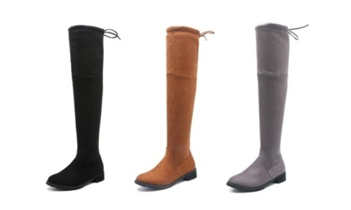 51cf70c40 Topic Women's Thigh High Faux Suede Winter Stretch Flat Boots 9 ...