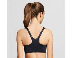 Warner's Wire-Free Zipper Front Back Smoothing Sports Bra - Black - Size:L 1778708