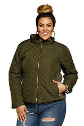 Hadari Women's Plus Size Quilted Collared Ribbed Bomber Jacket 1797778