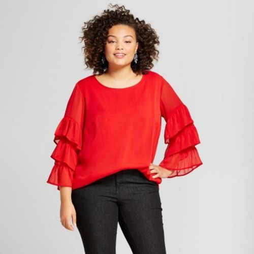 5a3b532ad70 Ava   Viv Women s Plus Size Ruffle Sleeve Blouse - Red - Size 1X ...