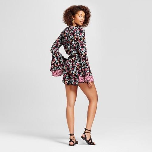 41cb8a4ec7e Xhilaration Women s Rompers - Blackberry Floral - Size  Medium ...