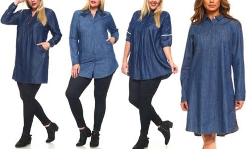 1f6aff34d4b Plus Denim Classic 2X Blouses & Button Down Shirts Extra Long Tunic ...