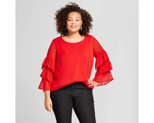 86e95db2ba0 Ava   Viv Women s Plus Size Ruffle Sleeve Blouse - Red - Size 1X ...