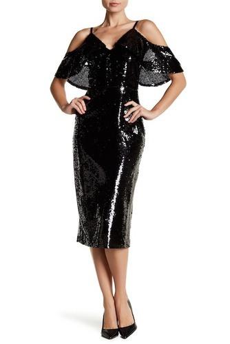 Abs Womens Cold Shoulder Sequin Dress Black Size 6 Check