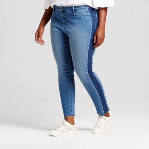 39cccce81c3 Women s Plus Size Jeggings with Tuxedo Stripe - Ava   Viv™ Medium Denim Wash