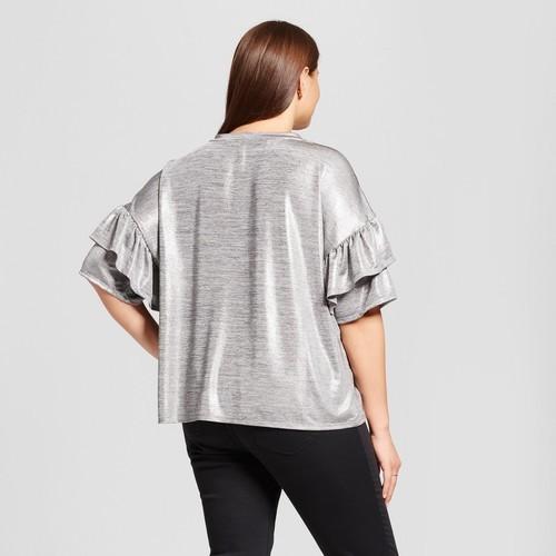 272ec1544608b2 Xhilaration Women's Plus Size Foil Knit Top - Silver - Size:X ...