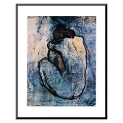 "Art Mounted Print Wall Art - Blue Nude - Size:14""""x11"""""" 1821341"