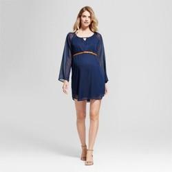 Maternity Long Sleeve Belted Chiffon Dress MaCherie Navy M 1823854