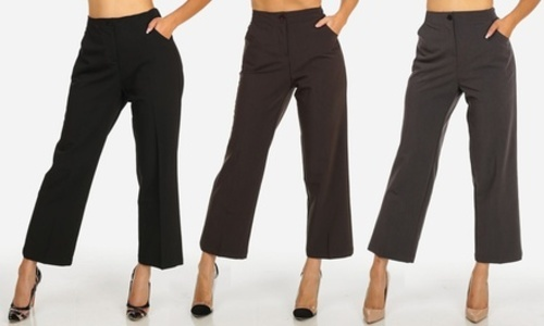 Womens High Waist Solid Straight Leg Ankle Dress Pants Black M 6 8