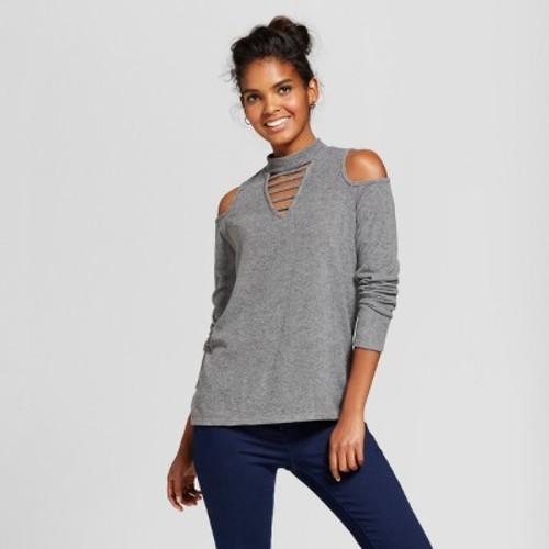01922197339547 Women s Long Sleeve High Neck Bar Front Cold Shoulder Cozy Top - Grayson  Threads (Juniors