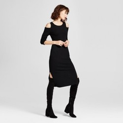 Women's Cold Shoulder Ribbed Sweater Dress - Mossimo  Black S 1833264