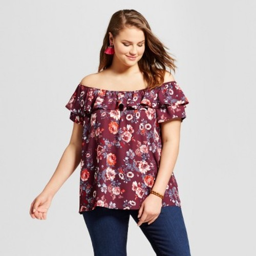 2fb15d4a4e1 Women s Plus Size Off the Shoulder Ruffle Top Floral - Xhilaration Red 3X