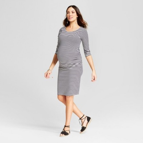 90627e0da86a0 Maternity Striped 3/4 Sleeve Shirred T-Shirt Dress- Isabel Maternity™ by  Ingrid & Isabel® Blue